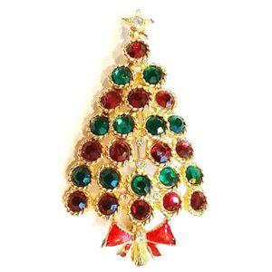 Vintage Rhinestone Christmas Tree Brooch Jewelry